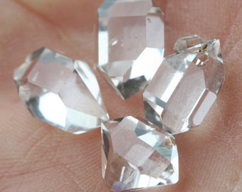 Herkimer Diamond crystal set, 4 double terminated quartz crystals, AA+ faceted gemstones 11-13 mm, natural clear crystals, healing stones
