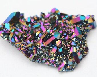 rainbow aura quartz crystal cluster, Arkansas quartz crystal plate with fused titanium, meditation stone, healing crystal, bohemian decor