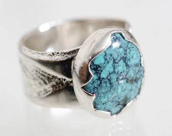 Nevada turquoise ring, engraved sterling silver ring, southwest jewelry, chunky mens ring, natural blue turquoise ring, December birthstone
