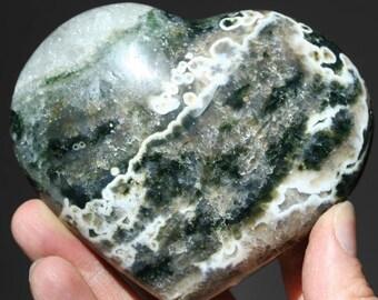 """large ocean jasper heart, orb jasper collector stone, 4"""" heart display stone, natural ocean jasper meditation stone, love gift nature gift"""