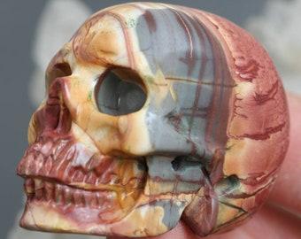 """natural jasper stone skull, 2"""" hand carved skull meditation stone, gothic decor, mens gift, energy healing stone, bohemian decor skull decor"""
