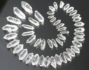 AA herkimer diamond double terminated quartz crystals, 6-16 mm natural faceted clear quartz points, 50 carat lot, energy healing crystals