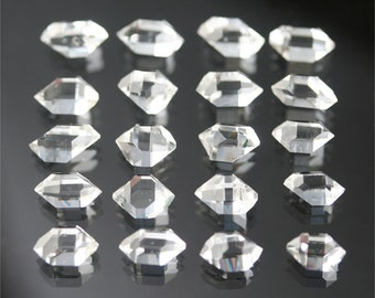 AAA herkimer diamond crystals, 20 double terminated quartz crystals, natural faceted quartz points, 7 mm clear gemstones, jewelry supply