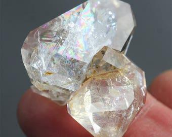 Herkimer Diamond twin crystal enhydro quartz genuine Herkimer golden healer 136 carat rainbow quartz meditation stone rare collector stone
