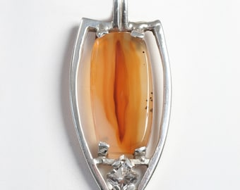 agate and clear quartz pendant, hand forged sterling silver shield pendant, chunky orange stone pendant, mens jewelry bold agate jewelry
