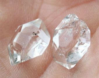 Herkimer Diamond crystal pair, AA gemstones, double terminated quartz crystals, 14 mm natural faceted clear crystals, energy healing stones
