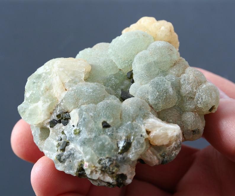 raw minersl specimen nature decor rustic decor collector stone prehnite stellerite crystal cluster botryoidal prehnite w epidote crystal