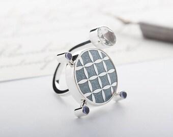 Enamel jewelry, Enamel ring, Silver ring, Handmade jewelry, Enamel charm ring