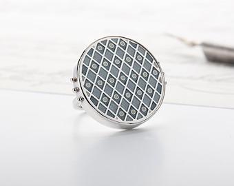 Enamel jewelry, Enamel ring, Sterling Silver ring, Enamel charm ring, Womens ring