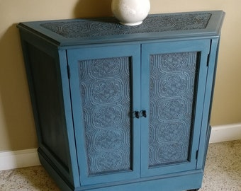 Painted Console,blue Cabinet,entryway Cabinet,hall Table,Chalk Paint  Furniture,Aubusson Blue,foyer,storage,unique,raised Wallpaper,tin Look