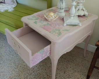 Pink painted end tables, Painted furniture, Bedroom furniture, Annie Sloan chalk paint, Shabby Chic end tables, Decorate in pink, decoupage