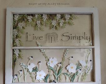 Old painted Windows, Painted Old Windows, Window art, Decorate with window, Farmhouse decor, Window wall art, Shabby Chic, Floral wall art