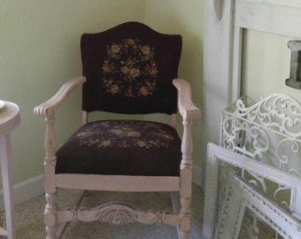 Vintage Painted Chair,Old Chair,Vintage Needlepoint Chair,Pink Chair,Entryway  Chair
