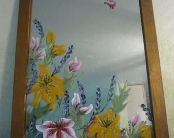 Hand painted mirror,Small painted mirror,Day Lily mirror,Accent mirror,Entryway,Mirror art,Home Decor,mirror,bath decor,rightupmyalleydesign