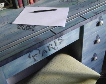Painted Furniture,2 desks SOLD,CUSTOM ORDERS,Parisian decor,Annie Sloan Painted tables,French decor,Stenciled,Custom Furniture, unique decor