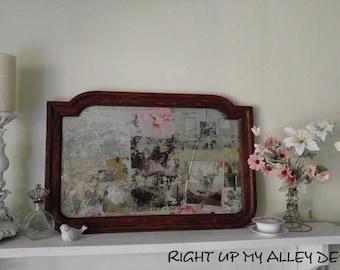 Vintage Mirror,1913 vintage Mirror,Victorian Oak Frame Mirror,Pre WWI mirror.Acid wash mirror,Shabby Chic mirror,Small mirror,Aged mirror