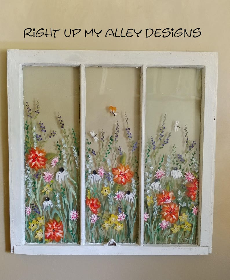 Old Painted Window Sold But You Can Custom Order Your Own Window Ideas Wall Art Vintage Painted Window Unique Wall Art 3pane Window