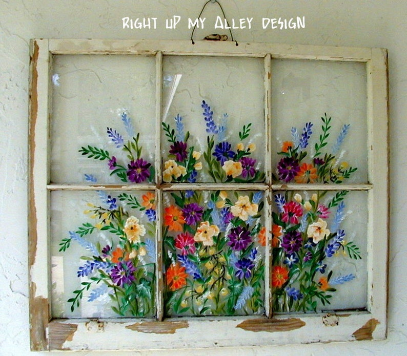 Old Windows Painted Old Windows All Windows Sold Custom Orders Welcomehand Painted Windows Wall Art Shabby Chic Floral Painted Windows