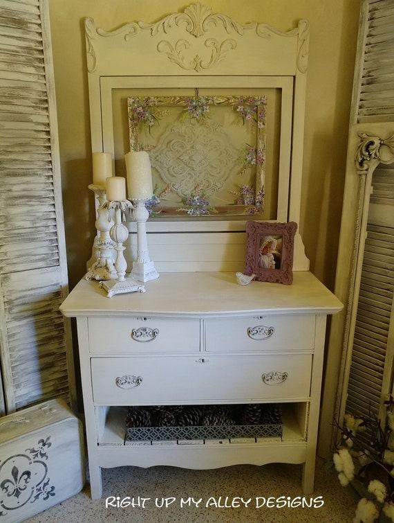 Vintage White Dresser Shabby Chic Furniture Fl Painted Etsy