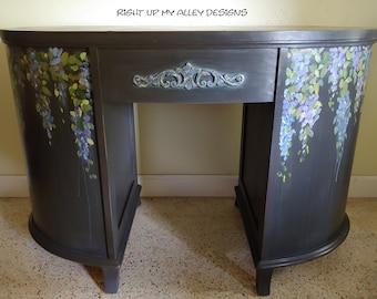 Unique Painted Furniture, Annie Sloan Painted desk, Wisteria Painted Furniture,Black Painted Desk, Purple Accent Furniture, Chalk paint desk