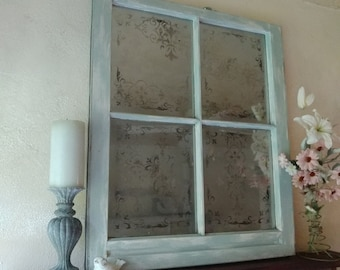 Old painted window,Parisian decor,Painted old window,French stenciled window,window ideas,window wall art,painted windows,French decor