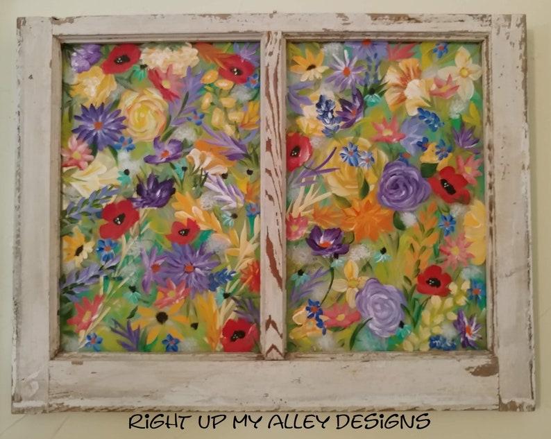 Boho Window Art Window Frame Wall Art Old Window Painted Old Window Unique Wall Art Window Wall Art Window Pane Art Bohemian Art Gift Ideas
