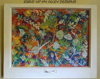 Painted window,art life,interior design,art,floral decor,painted old window,window ideas,window wall arts,window pane art, bohemian,tropical