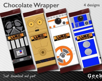 Star Wars Inspired Style Chocolate Wrapper - Digital or Printed - R2D2 - C3PO - Darth Vader - BB8