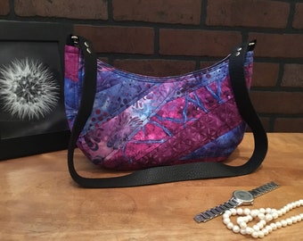 T.E.G. / Susan / Tote / Purse / Bag / purple / magenta / quilted /