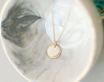 ECLIPSE Necklace - Delicate Gold & Silver Disc Necklace \\ Eclipse Jewelry \\ Cosmic