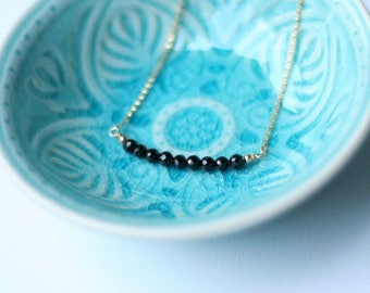 Ebony Necklace - Onyx Bar Gemstone Necklace