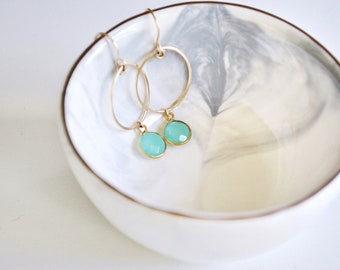 Birthstone Hoop Earrings - Personalized Gemstone Earrings