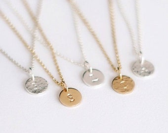 Solo Initial Tag Necklace - 14k Gold or Sterling Silver