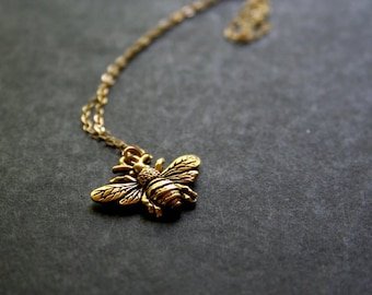 Beatrice - Gold Bumblebee Necklace Delicate Gold Necklace