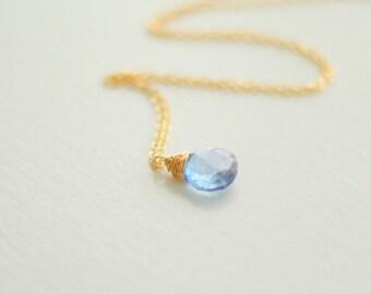 Blue Mystic Quartz Necklace - Gold Filled
