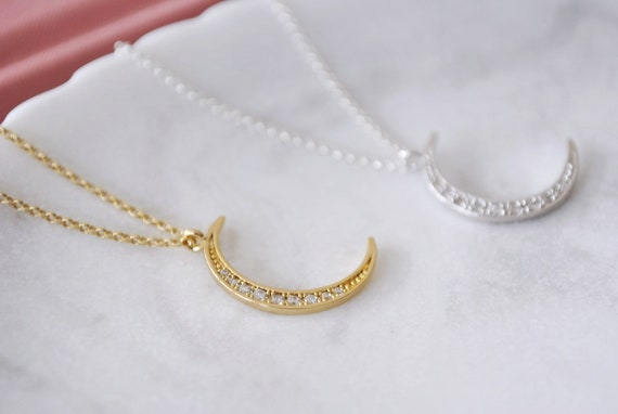 Gold Crescent Moon Necklace Crystal Luna Half Moon Dainty Delicate Charm Small 18K Gold Vermeil Demi Fine Gift For Her Valentines Jewellery