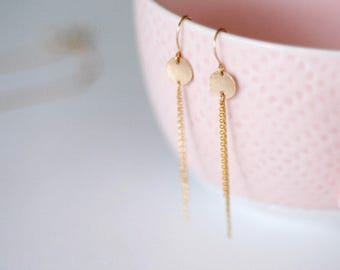 Brie - Gold Disc & Chain Earrings