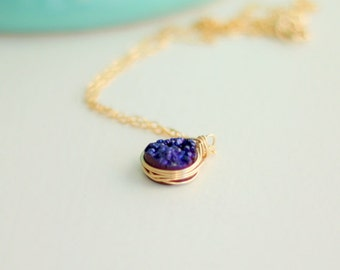 Druzy Necklace in Gold or Silver (multiple colors)