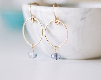 Georgiana Earrings - Hoop Earrings with Blue Crystals