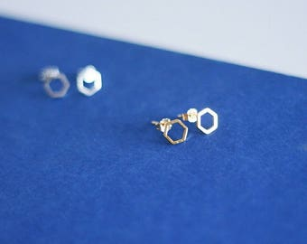 Chloe - Hexagon Stud Earrings
