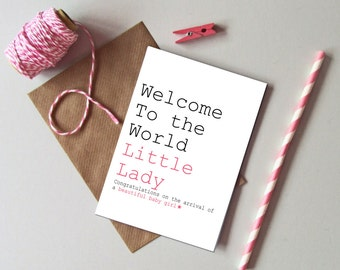 Baby girl card etsy baby girl card welcome to the world little lady card new baby girl greetings card modern new baby girl card m4hsunfo