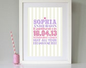 Personalised Elephant Print Present for Baby Boy Christening Naming Day Gift