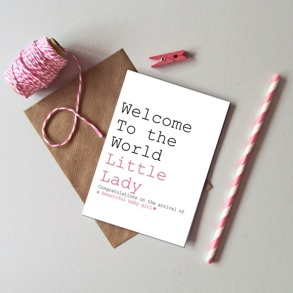 baby girl card welcome to the world little lady card new etsy