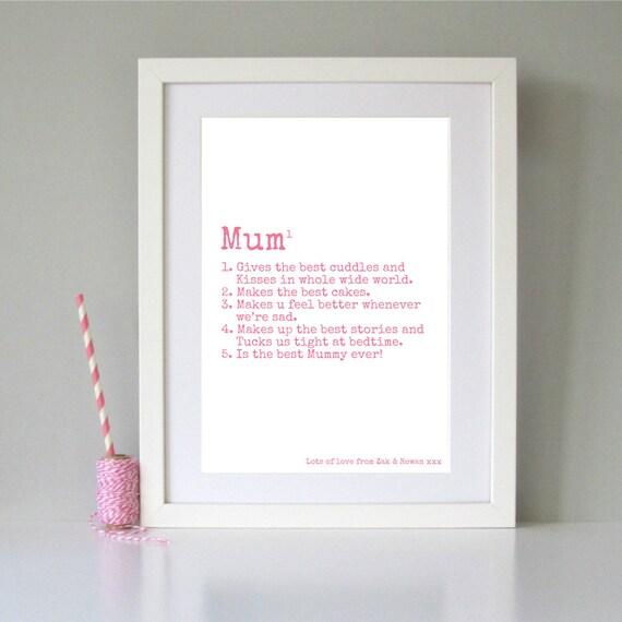 geschenk personalisierte mama print personalisierte mutter. Black Bedroom Furniture Sets. Home Design Ideas