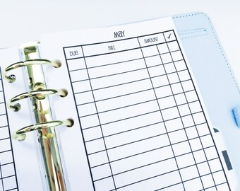 Printed Personal Size Bill Pay Checklist Inserts