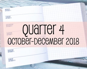 Traveler's Notebook B6 Size Week on One Page with Grid {Q4 | October-December 2018} #800-24