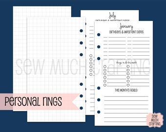 Printed Personal Size Month at a Glance Planning Inserts
