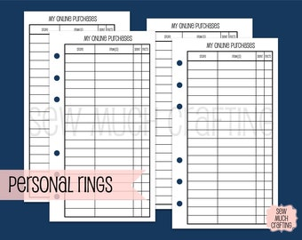 Printed Personal Size Online Purchase Trackers