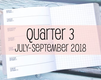 Traveler's Notebook B6 Size Week on One Page with Grid {Q3 | July-September 2018} #800-23