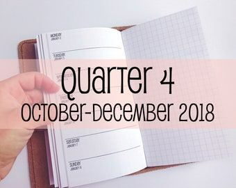 Traveler's Notebook PERSONAL Size Week on One Page with Grid {Q4 | October-December 2018} #700-24